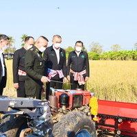 รัฐมนตรีเกษตรฯ เยี่ยมชมนวัตกรรมรถเกี่ยวข้าวขนาดเล็ก