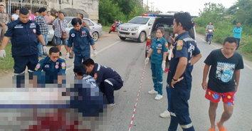 โจ๋ขี่รถจักรยานยนต์เสียหลักชนกับรถพ่วง เสียชีวิต 2 ราย บาดเจ็บ 2 ราย