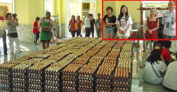 มโหฬาร! ชาวจีนถวายไข่ 200,000 ฟอง ขอพรหลวงพ่อโสธร ให้พ้นวิกฤตไข้หวัดมรณะ