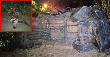 พลทหารซิ่งกระบะชน จยย. รถเสียหลักลงชนเสาไฟฟ้า ดับสลดทั้งคู่