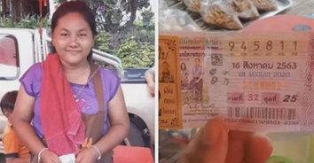 รวยๆ แม่ค้าปลาหมึกย่าง ถูกลอตเตอรี่รางวัลที่ 1 รับ 6,000,000