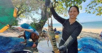 กุ้งมังกรยักษ์! จับกุ้งมังกรเจ็ดสีตัวเกือบโล ตัวแรกในรอบ 10 ปี