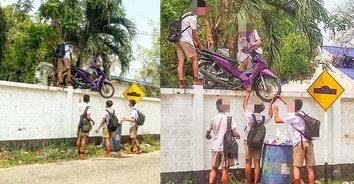 โดดเรียนธรรมดาโลกไม่จำ! นักเรียนยก จยย.ปีนข้ามกำแพงโดดเรียน