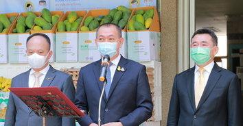 """เฉลิมชัย ปล่อยคาราวานรถสินค้าเกษตรคุณภาพ ตาม """"โครงการแบ่งปันน้ำใจ เกษตรไทยสู้ภัยโควิด-19"""""""