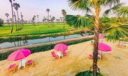 The Aileen Cafe คาเฟ่เก้าอี้ชายหาดสีชมพู พร้อมวิวทุ่งนาและต้นตาลแบบพาโรนามา
