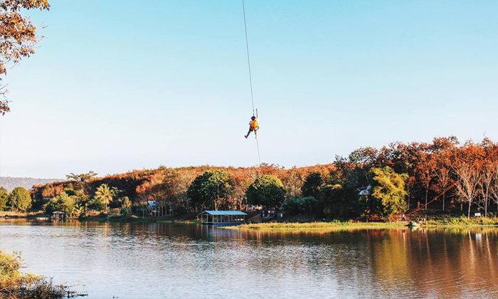 Zipline ข้ามอ่างเก็บน้ำห้วยน้ำราง ท่องเที่ยวชุมชนแนวใหม่ สไตล์แอดเวนเจอร์