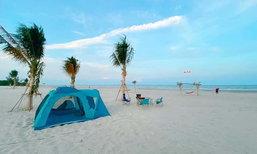 บ้านไม้บนหาด รีสอร์ทชะอำ ลานกางเต็นท์บนชายหาด บรรยากาศสุดมินิมอล