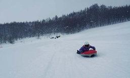 ไปฮอกไกโดต้องลอง เล่น Air Board กลางภูเขาหิมะ @ Viva Alpaca Farm