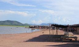 หาดทรายท้ายเขื่อนกระเสียว สวนน้ำธรรมชาติแห่งสุพรรณบุรี