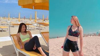 เผยภาพบรรยากาศความน่ารักปนเซ็กซี่ นักตบลูกยาวสาวไทย บนชายหาดริมินี อิตาลี