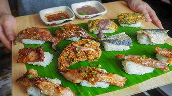"""ซูชิสายพันธุ์ไทย! ข้าวปั้นหน้าอาหารไทยแนวใหม่ที่ต้องลอง จากร้าน """"หมีไรกิน"""""""