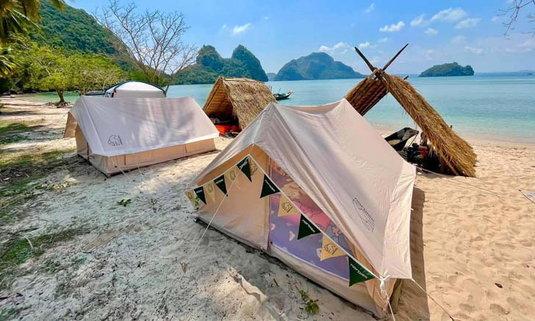 บ้านเกาะเตียบชุมพร แคมป์ปิ้งบนเกาะกลางทะเล ฟีลดีบรรยากาศเงียบสงบ