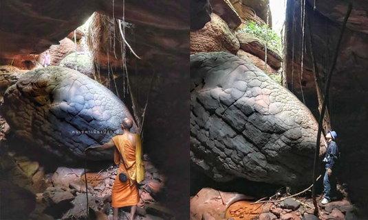 ค้นพบหินเศียรพญานาคแห่งใหม่ในถ้ำศรีพรหม บึงกาฬ