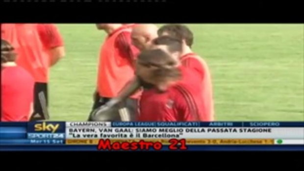 Ibrahimovic กระโดดถีบเพื่อนร่วมทีมขณะซ้อม