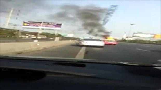 รถบรรทุกแก๊สระเบิด บนมอเตอร์เวย์ขาเข้า กม.2