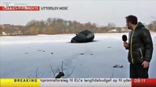ผู้ประกาศข่าวช็อค! รถจมหายไปในน้ำแข็งทั้งคันต่อหน้าต่อตา