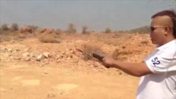 หนุ่มอัดคลิปยิงปืน รณรงค์เลือกตั้ง 2 ก.พ.