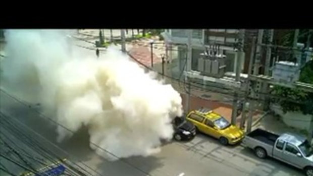 รถติดแก๊สระเบิด เมืองทองธานี