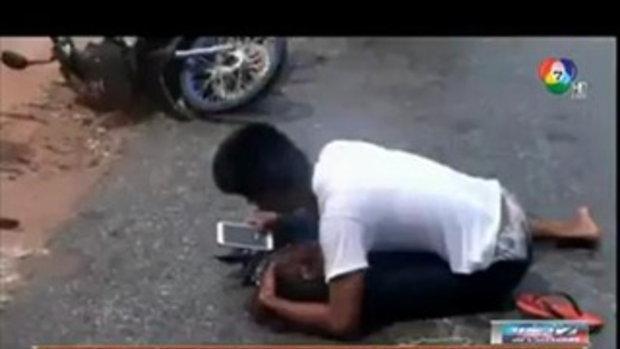 ใจจะขาด!! รถพ่วงซิ่งทับเมียต่อหน้าผัว กอดศพร่ำไห้
