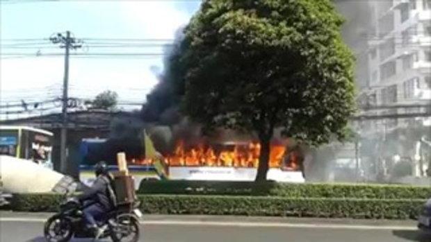 เหตุด่วน! ไฟไหม้รถเมล์ 126 ลาดพร้าว