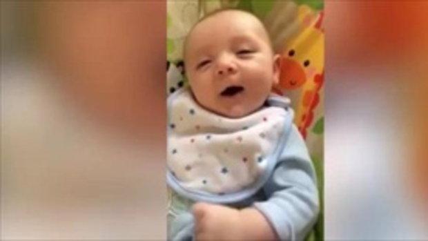 คลิปทั้งน่ารัก-น่าทึ่ง ทารกอายุไม่ถึง 2 เดือนพูดฮัลโหลชัดแจ๋ว