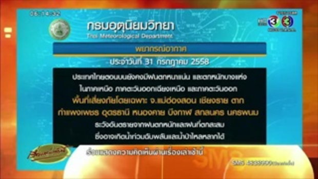อุตุฯเตือนเหนือ-อีสาน-ตะวันออก ระวังอันตรายจากฝนตกหนัก (31 ก.ค.58)