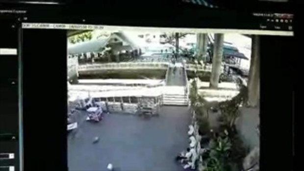 ภาพจากกล้องวงจรปิด วินาทีระเบิดท่าเรือสาทร