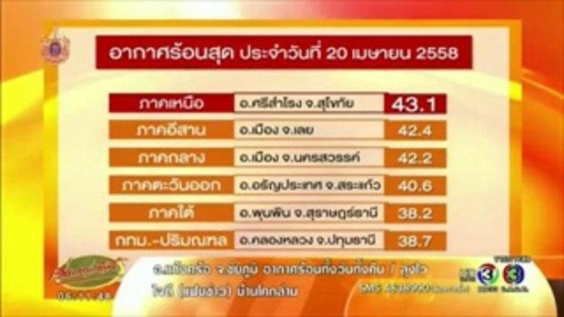 สุโขทัย คว้าแชมป์ร้อนสุดในไทย 20 เม.ย. อุณหภูมิพุ่งถึง 43.1 องศา (21 เม.ย.58)