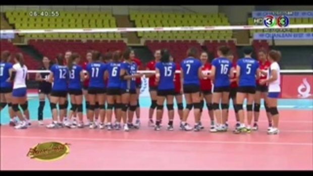 นักวอลเลย์บอลสาวไทยตบชนะฮ่องกง 3-0 เซ็ต ขึ้นนำจ่าฝูงกลุ่มบี (22 พ.ค.58)