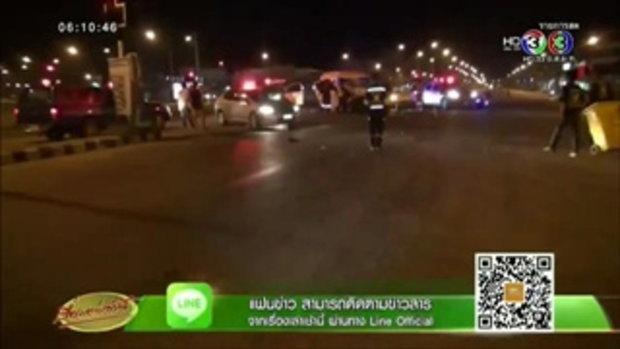 รถตู้ชนพ่วง 22 ล้อกลางแยกไฟแดงที่ปราจีนฯ ผู้โดยสารเจ็บระนาว(19 ต.ค.58)