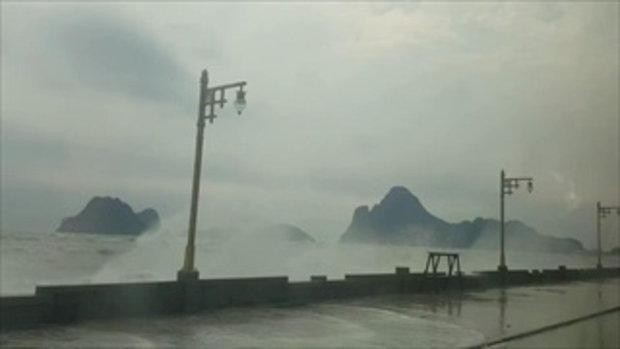 คลิปคลื่นยักษ์ 4 เมตร ซัดถล่มชายหาดประจวบฯ-อ่าวมะนาว