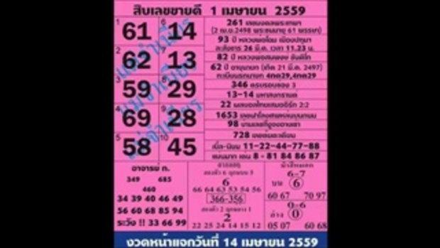 สิบเลขขายดี แม่จำเนียร หวย งวดวันที่ 1 เมษายน 2559