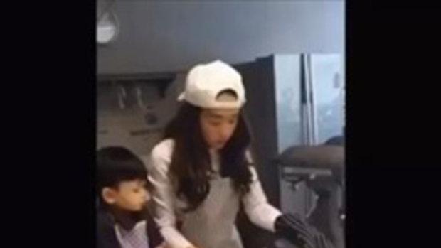 คลิปน่ารัก  แม่เป้ย น้องโปรด จับมือกันทำเค้กวันเกิดให้พ่อป๊อบ