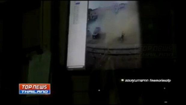 วงจรปิดเผยภาพนาทีระเบิดที่สถานีรถไฟ อำเภอจะนะ จังหวัดสงขลา
