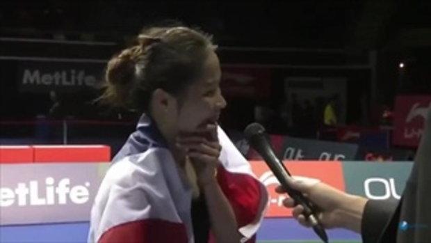 น้องเมย์ รัชนก ให้สัมภาษณ์ภาษาอังกฤษหลังได้แชมป์ที่สิงคโปร์