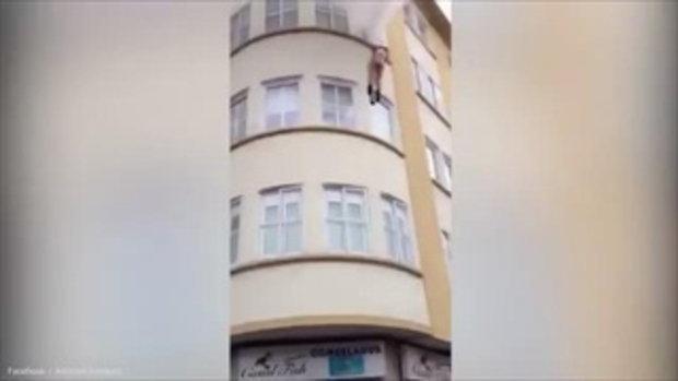คลิปสาวกระโดดหน้าต่าง สภาพเปลือย หลังเกิดเหตุไฟไหม้ห้องพักในอพาร์ทเม้นท์