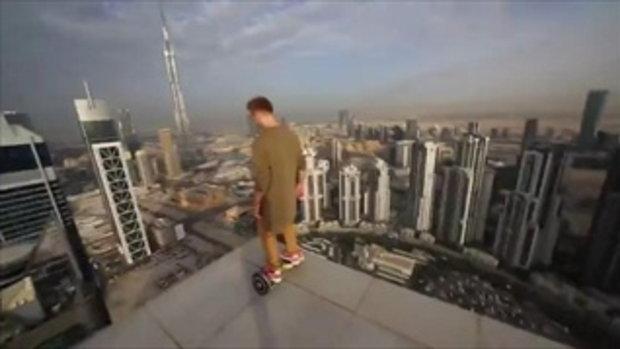 คลิป หนุ่มท้าความตาย เล่นเครื่องโฮเวอร์บอร์ด บนขอบตึกสูง