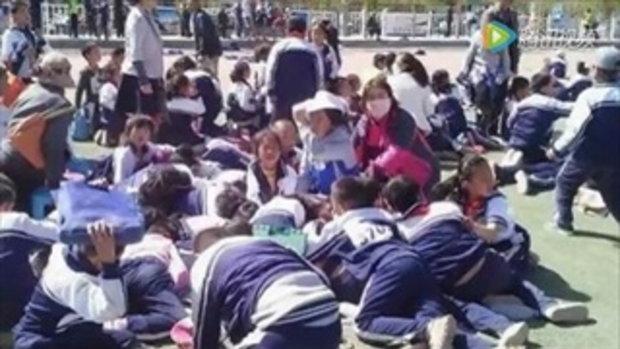 พายุหมุนเมืองจีน พัดเด็กนักเรียนลอยปลิว เจ็บสาหัส