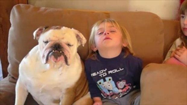 เด็กน้อยกับน้องหมา แข่งกันหลับ
