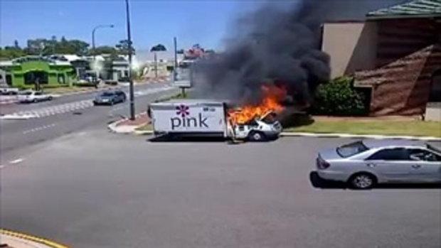 รถโดนไฟไหม้ หนีรถดับเพลิงซะงั้น