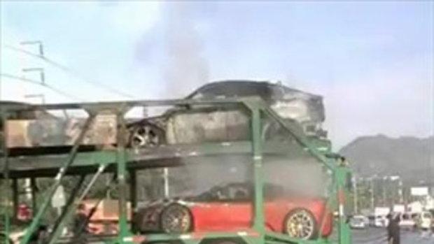 ไฟไหม้รถหรู 4คัน มูลค่าร่วม 100ล้าน!! (อัพเดท)