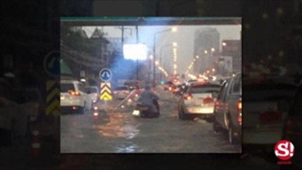 ฝนตกหนักรอบเมืองกรุง น้ำรอระบายท่วมถนนหลายเส้นทาง