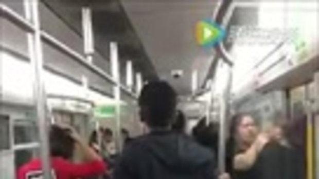 ศึกแย่งชิงที่นั่ง คนจีนตบตี-กระชากหัวบนรถไฟฟ้าใต้ดิน
