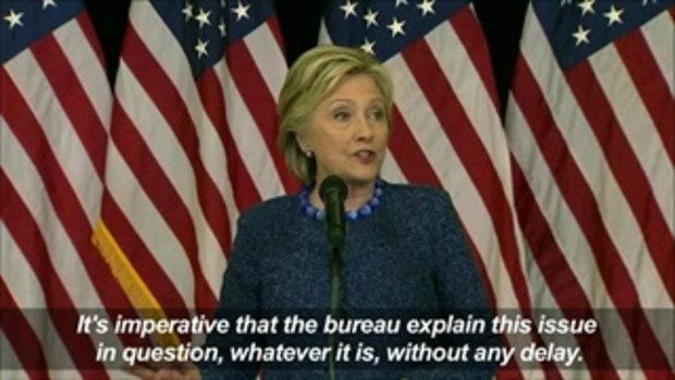 ฮิลลารี่ มั่นใจผลการสืบสวนเรื่อง Email จาก FBI จะไม่กระทบการเลือกตั้ง