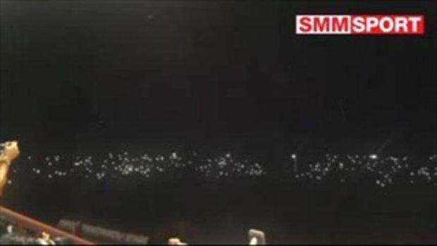 ที่สนามทุ่งทะเลหลวง เกิดเหตุไฟดับในนาทีที่ 29 ขณะที่สกอร์ล่าสุด สุโขทัย 0-1 เมืองทอง