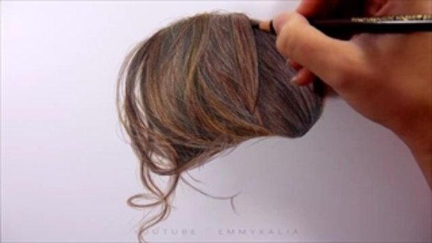 Emmy Kalia ศิลปินชาวดัตช์ ใช้ดินสอเพียง 8 เฉดสี วาดเส้นผมออกมาได้เหมือนจริง อย่างกับภาพถ่าย