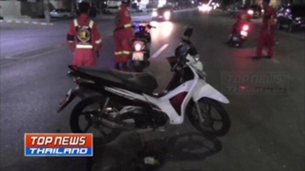 ภาพวงจรปิดรถจักรยานยนต์ชนกระบะ ขณะเลี้ยวตัดหน้ากระทันหัน ได้รับบาดเจ็บสาหัส 2 ราย