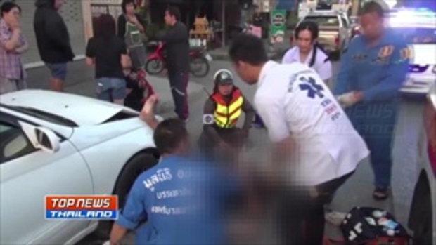 เหยีบเบรคเป็นคันเร่ง! หญิงสาวตกใจตำรวจวิ่งข้ามถนนตัดหน้า ชนขาขาดสองท่อน