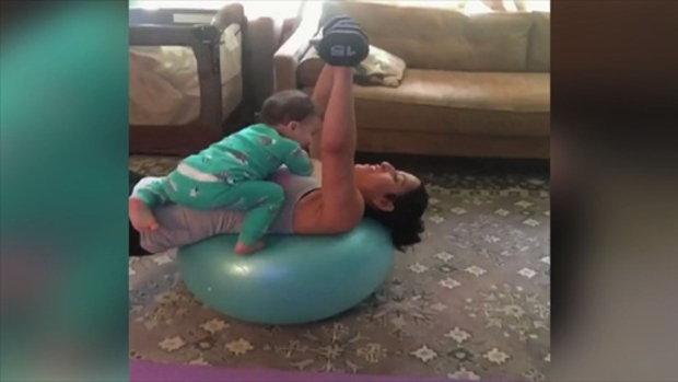 เมื่อคุณลูกตัวน้อยเป็นอุปสรรค์ต่อการออกกำลังกายของคุณแม่