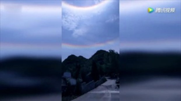 สวย! ปรากฏการณ์พระอาทิตย์ทรงกลดที่จีน